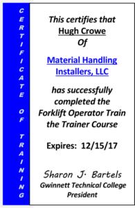 Hugh Crowe Forklift Training